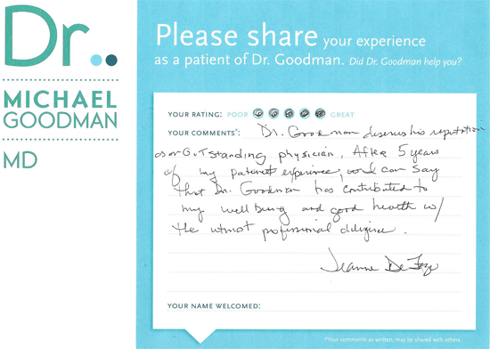 Dr. Goodman's Patient's evaluation